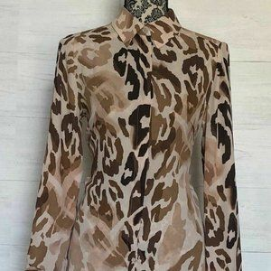 Chico's Top Size XS US 4 Animal Print Semi Sheer L